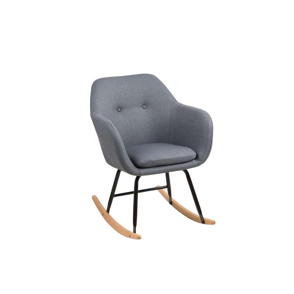 Schommelstoel Anada is een echte eyecatcher in uw interieur! De stoel is bekleed met een donkergrijze stof en zit erg comfortabel. Het onderstel is gemaakt van metaal en hout en dat geeft deze stoel een trendy en eigentijdse look.