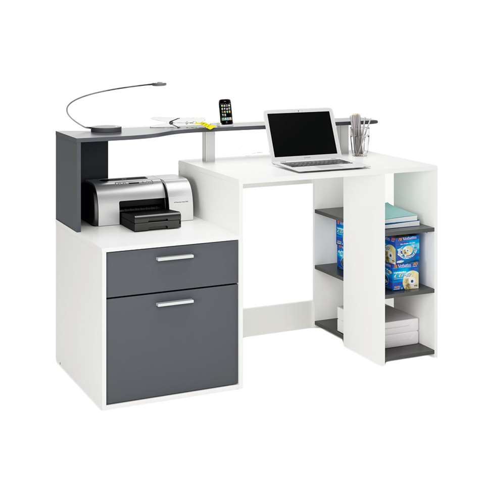 Bureau Oracle in wit/antraciet is een bureau waar u gemakkelijk multimedia kan herbergen. Opzetmeubel en legplanken inbegrepen.