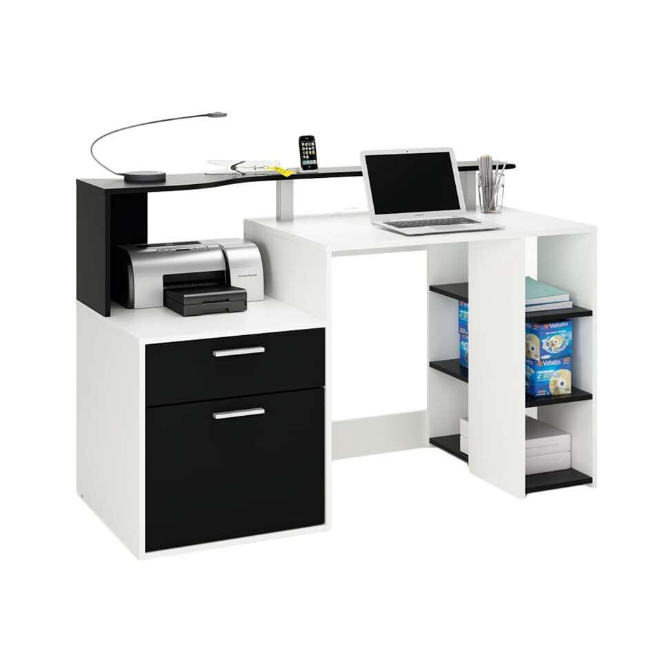 Bureau Oracle in wit/zwart is een bureau waar u gemakkelijk multimedia kan herbergen. Opzetmeubel en legplanken inbegrepen.