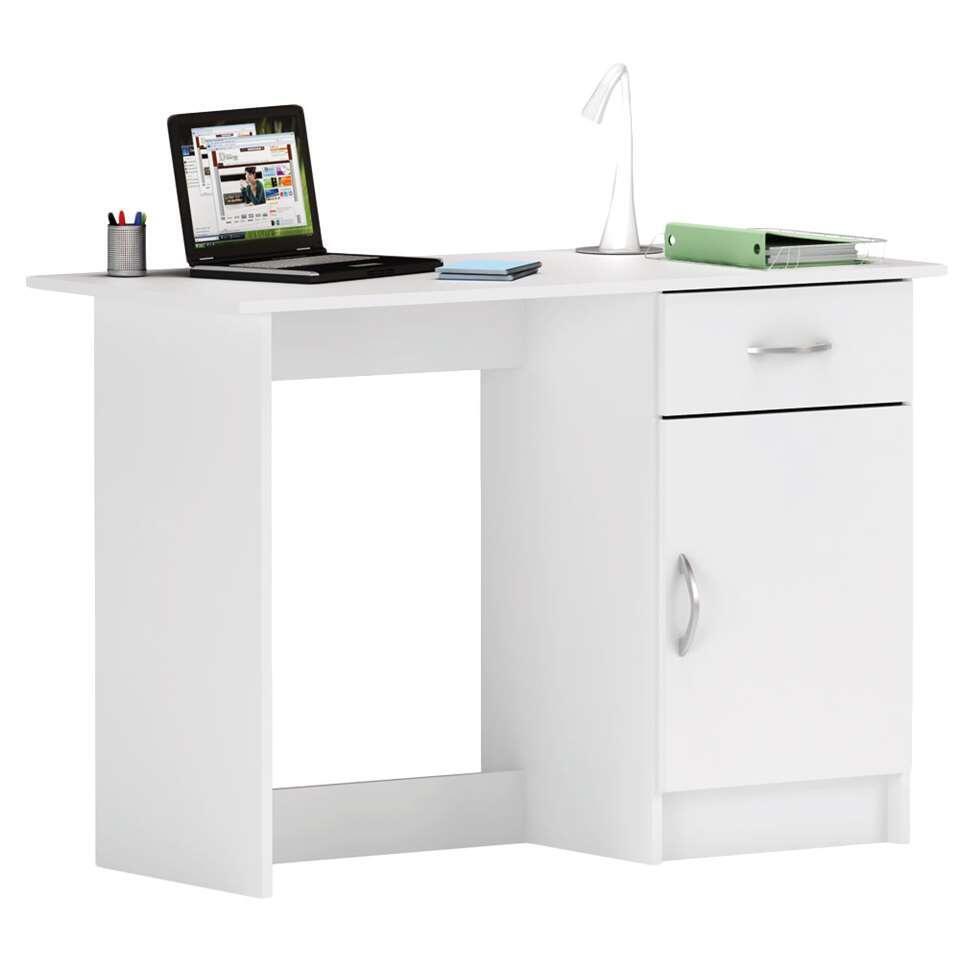 Le bureau Osiris en blanc est un bureau écolier premier prix. Le bureau comprend 1 porte et 1 tiroir.
