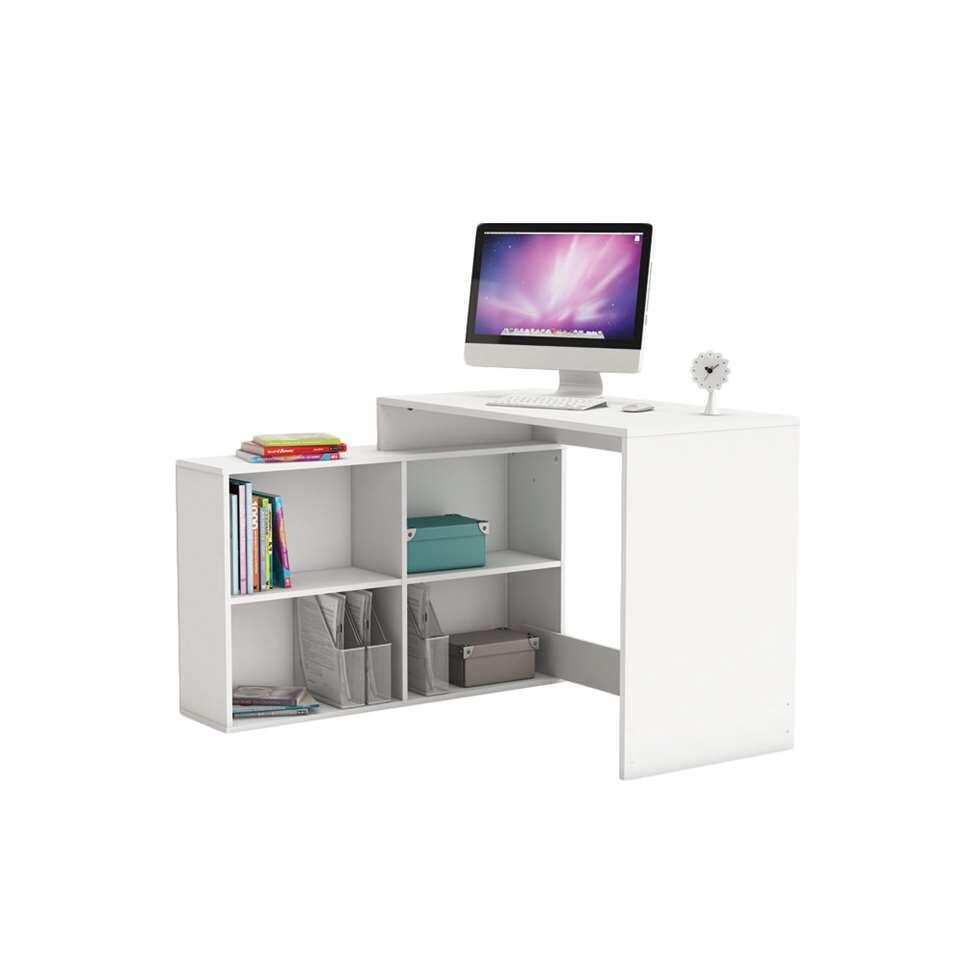 Le bureau Corner en blanc est un bureau d'angle équipé d'une table de travail et d'un rangement de 4 cases ouvertes. Ce rangement peut être monté à droit ou à gauche.