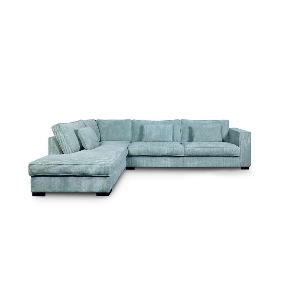 Canapé d'angle Stuttgart est recouvert d'un tissu côtelé robuste bleu clair. Ce canapé est assez spacieux et a un confort élevé. Vous aimez des meubles à l'esthétique robuste et contemporaine? Ce canapé est exactement ce qu'il vou
