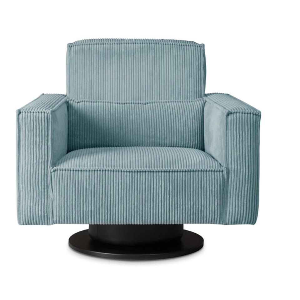 Fauteuil pivotant Stuttgart avec bras est recouvert d'un tissu côtelé robuste bleu clair/gris. Ce fauteuil au confort élevé est un atout branché pour votre salon.