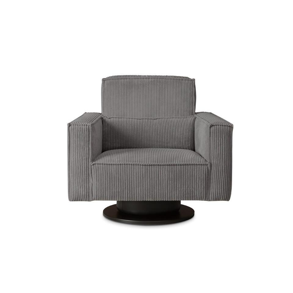 Fauteuil pivotant Stuttgart avec bras est recouvert d'un tissu côtelé branché gris foncé. Ce fauteuil au confort élevé est un ajout branché pour votre salon.