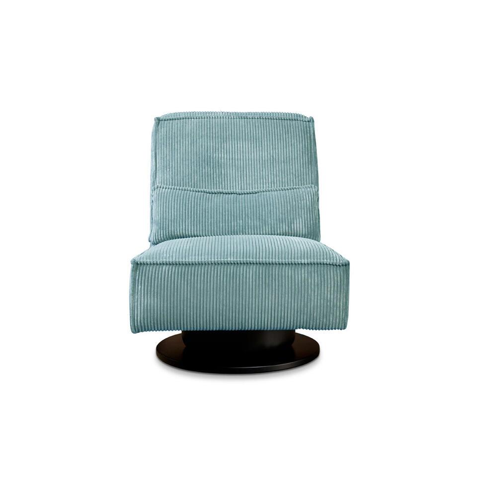 Fauteuil pivotant Stuttgart sans bras est recouvert d'un tissu côtelé robuste bleu clair. Ce fauteuil au confort élevé est un ajout branché pour votre salon.