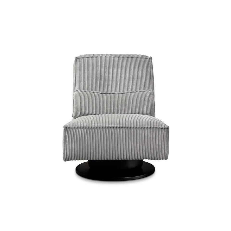 Fauteuil pivotant Stuttgart sans bras est recouvert d'un tissu côtelé robuste gris clair. Ce fauteuil au confort élevé est un ajout branché pour votre salon.
