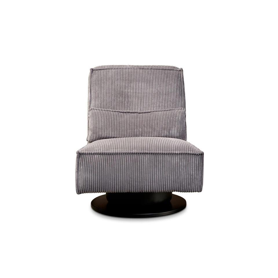 Fauteuil pivotant Stuttgart sans bras est recouvert d'un tissu côtelé robuste gris foncé. Ce fauteuil au confort élevé est un ajout branché pour votre salon.