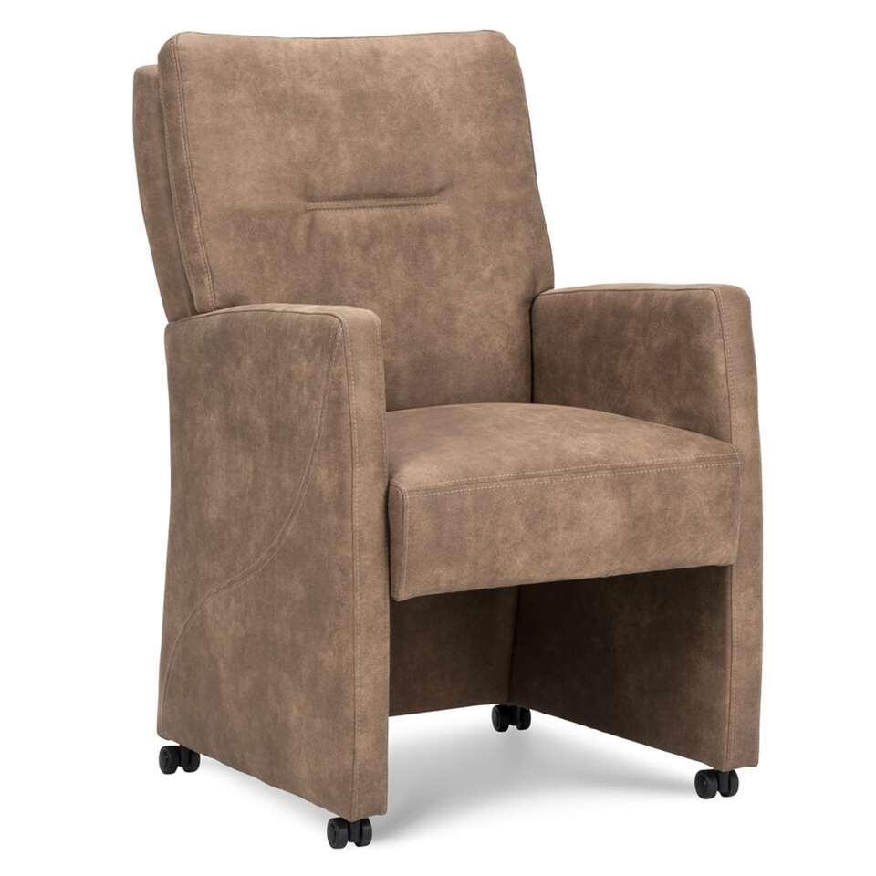 Chaise de salle à manger Otis est un siège à accoudoirs élégant et confortable au coussin de dos double. La chaise est faite d'un tissu riche et facile à déplacer grâce aux roulettes pratiques.