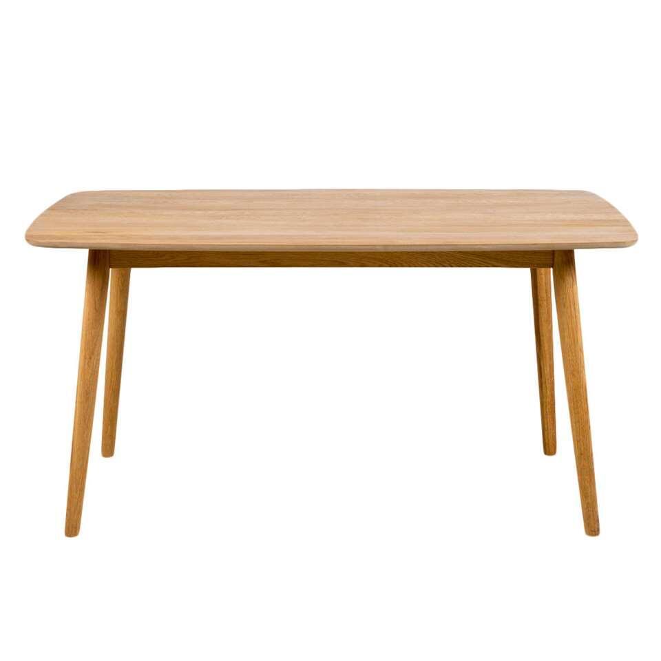 Eetkamertafel Ulfborg is een moderne tafel met een naturel tafelblad van 150 cm. Het solide frame is gemaakt van eikenhout.