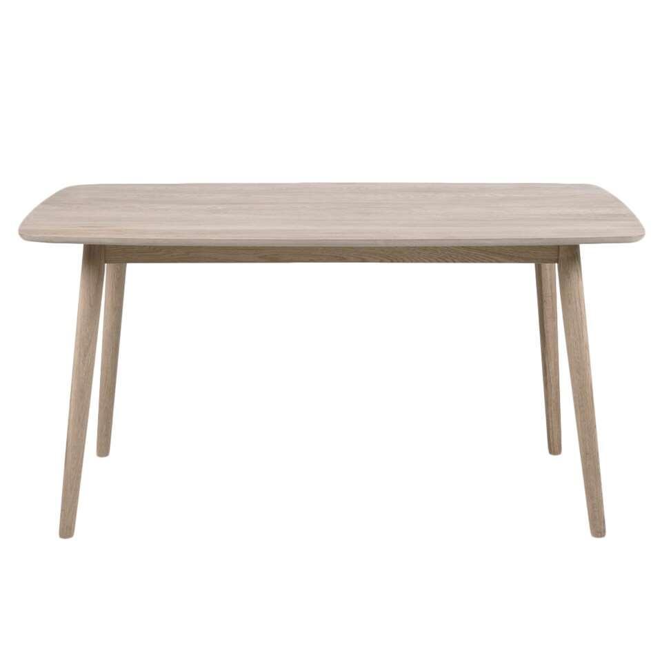 Eetkamertafel Ulfborg is een moderne tafel met een beige tafelblad van 150 cm. Het solide frame is gemaakt van licht eikenhout.