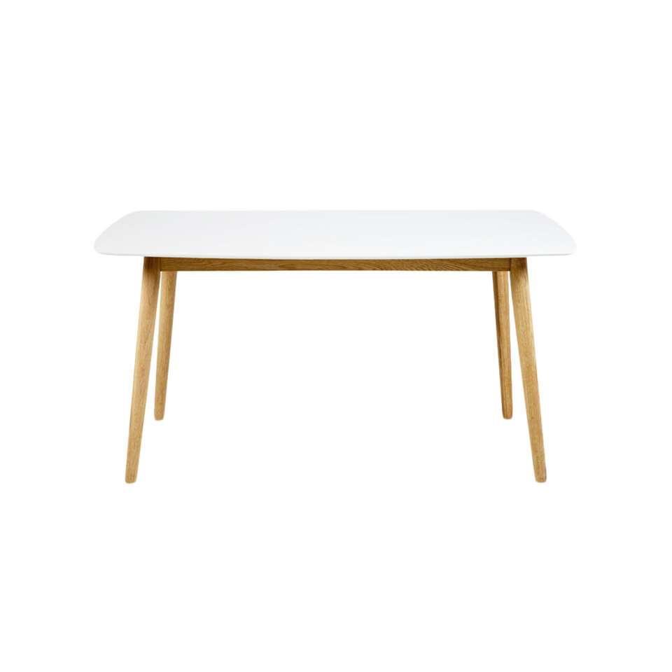 Eetkamertafel Ulfborg is een massief eiken tafel met een wit gelakt tafelblad.