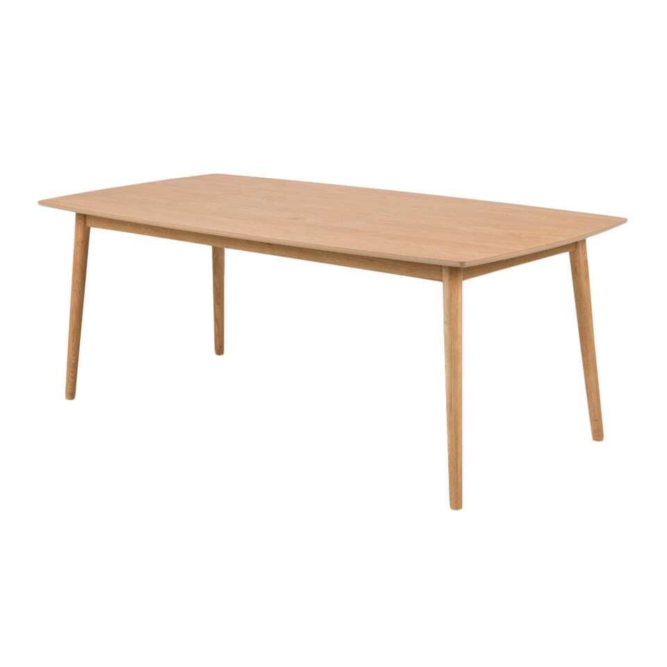 Eetkamertafel Ulfborg is een moderne tafel met een naturel tafelblad van 180 cm. Het solide frame is gemaakt van eikenhout.