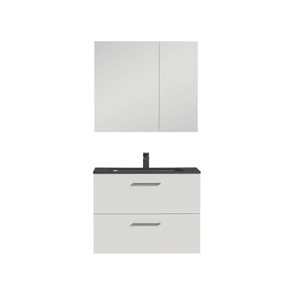 Tiger meuble de salle de bains studio blanc noir brillant 80 cm - Meuble de salle de bain noir brillant ...