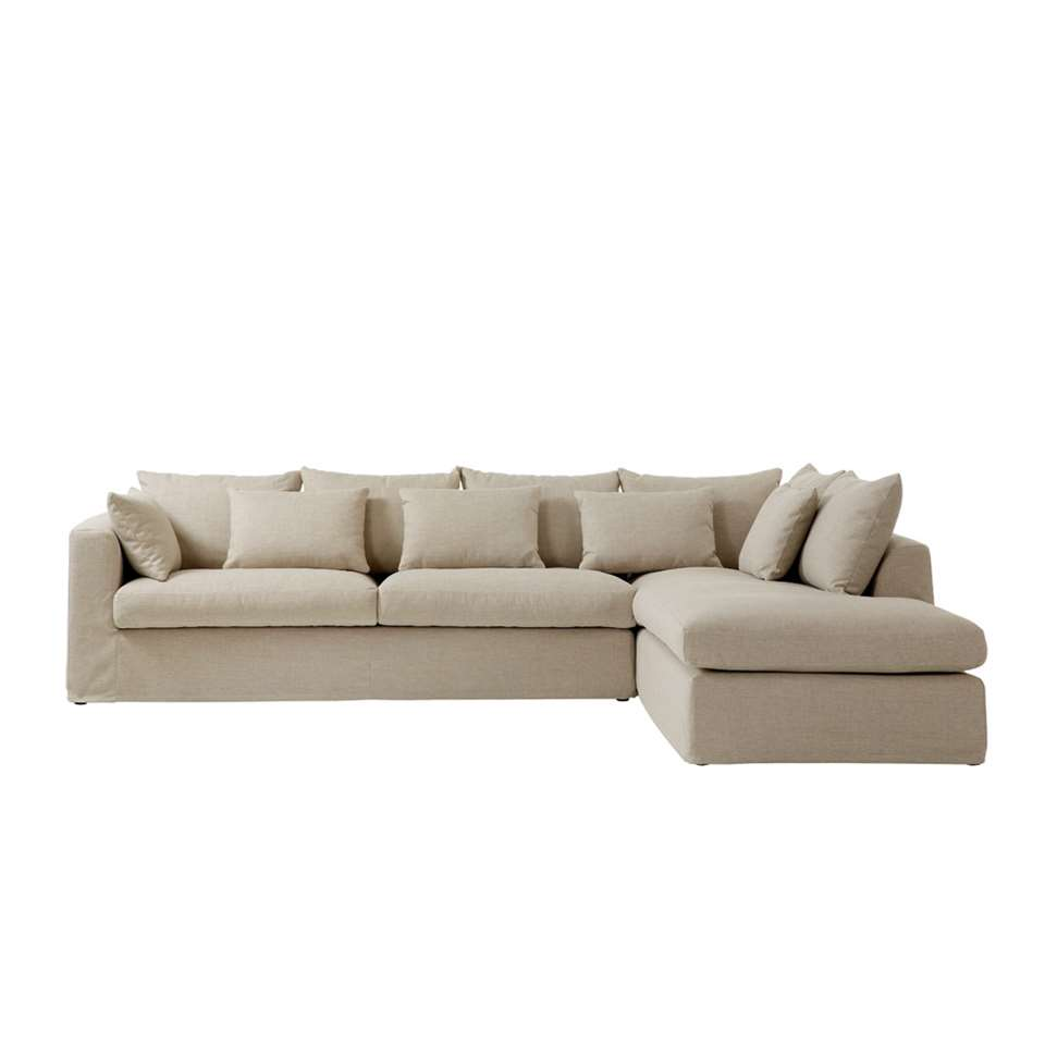 Canapé d'angle Eline est fait en tissu et a un look luxueux. Grâce à la chaise longue, ce canapé est idéal pour se détendre de tout son long.