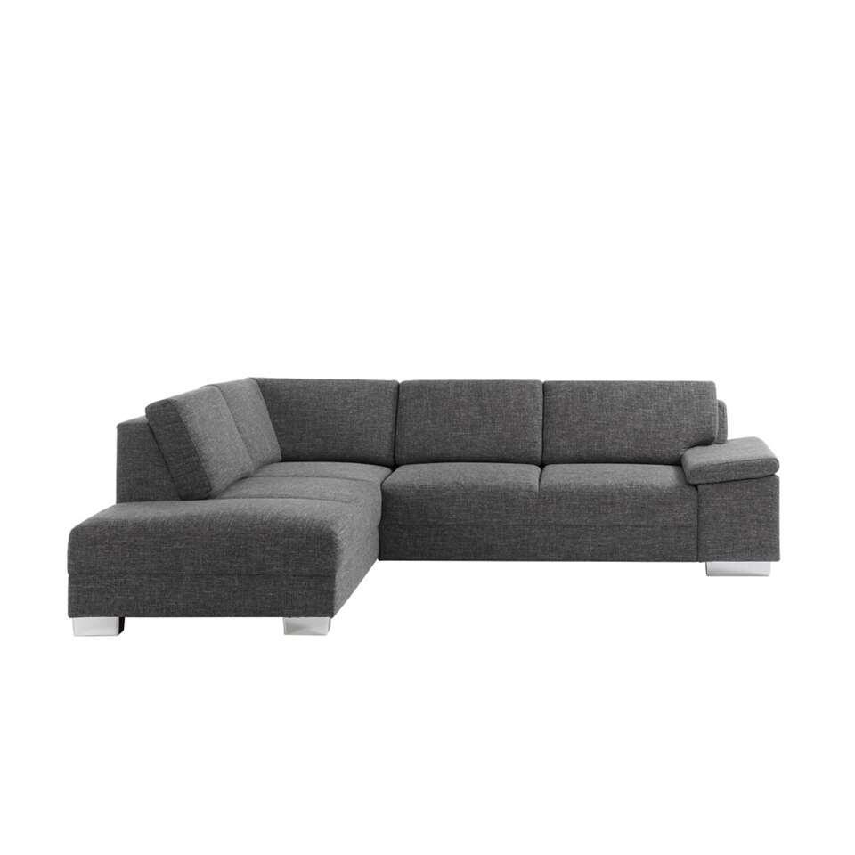 Dit hoeksalon heeft een grijs gemêleerde stof. Dit gecombineerd met het design geeft deze zetel een tijdloze en strakke uitstraling.