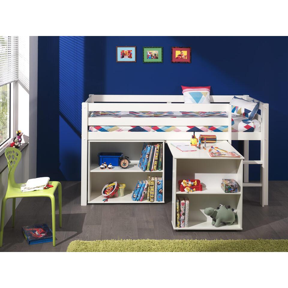 vipack lit sur lev pino avec bureau et biblioth que blanc. Black Bedroom Furniture Sets. Home Design Ideas