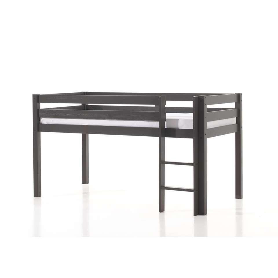 Vipack lit surélevé Pino avec bureau et bibliothèque - taupe