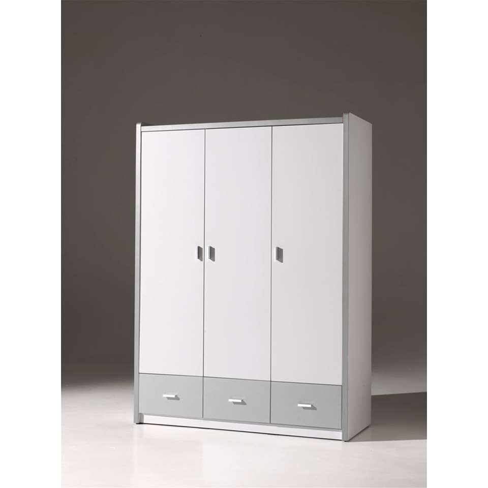 vipack armoire linge 3 portes bonny couleur argent. Black Bedroom Furniture Sets. Home Design Ideas