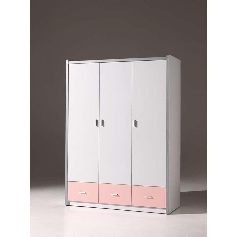 vipack armoire linge 3 portes bonny rose clair. Black Bedroom Furniture Sets. Home Design Ideas