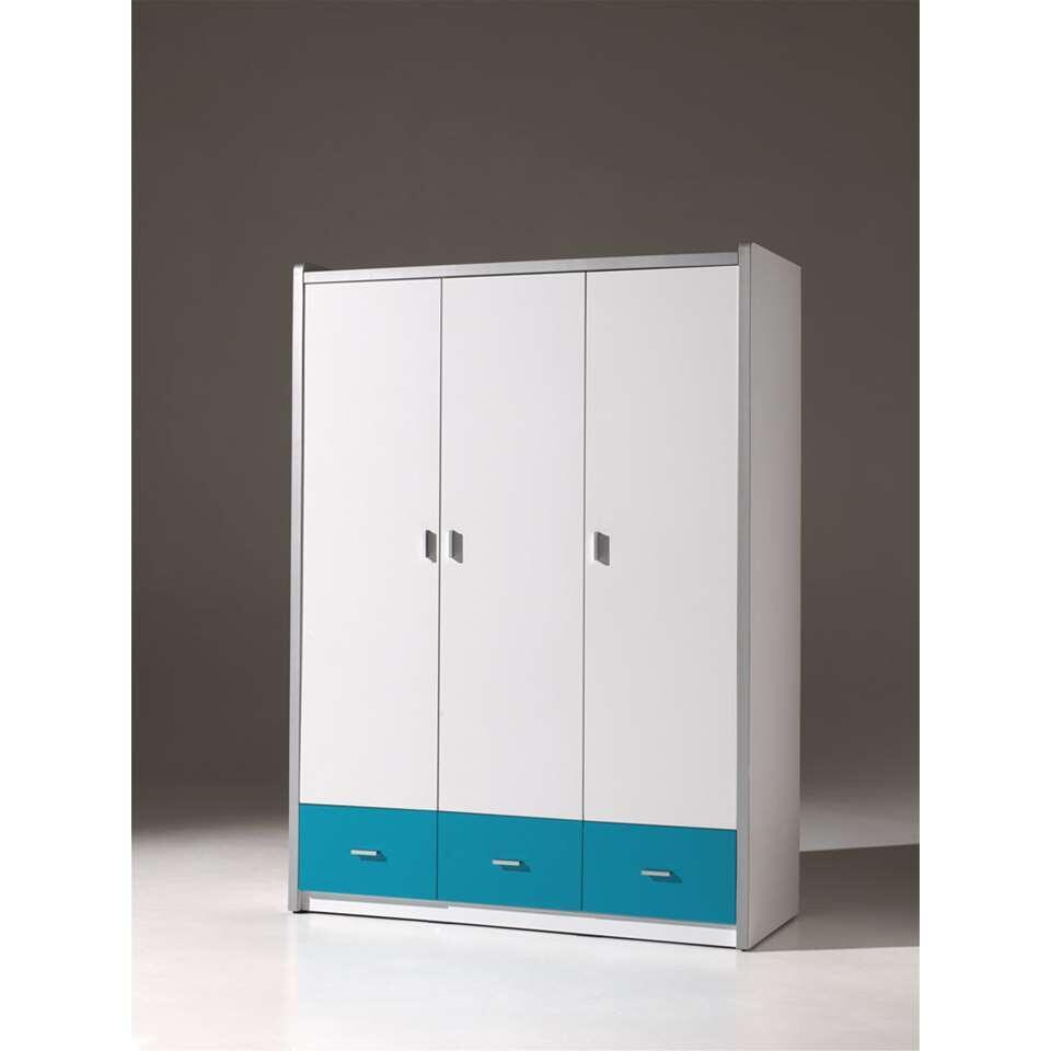 Vipack 3-deurs kleerkast Bonny - turquoise - 202x141x60 cm