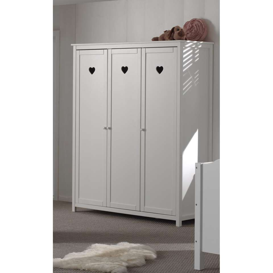 vipack armoire linge 3 portes amori blanche. Black Bedroom Furniture Sets. Home Design Ideas