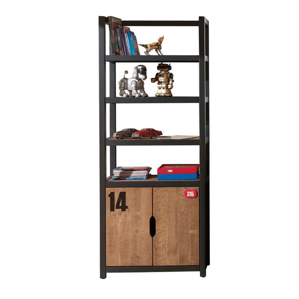 Vipack boekenkast Alex - bruin/zwart - 200x80x40 cm