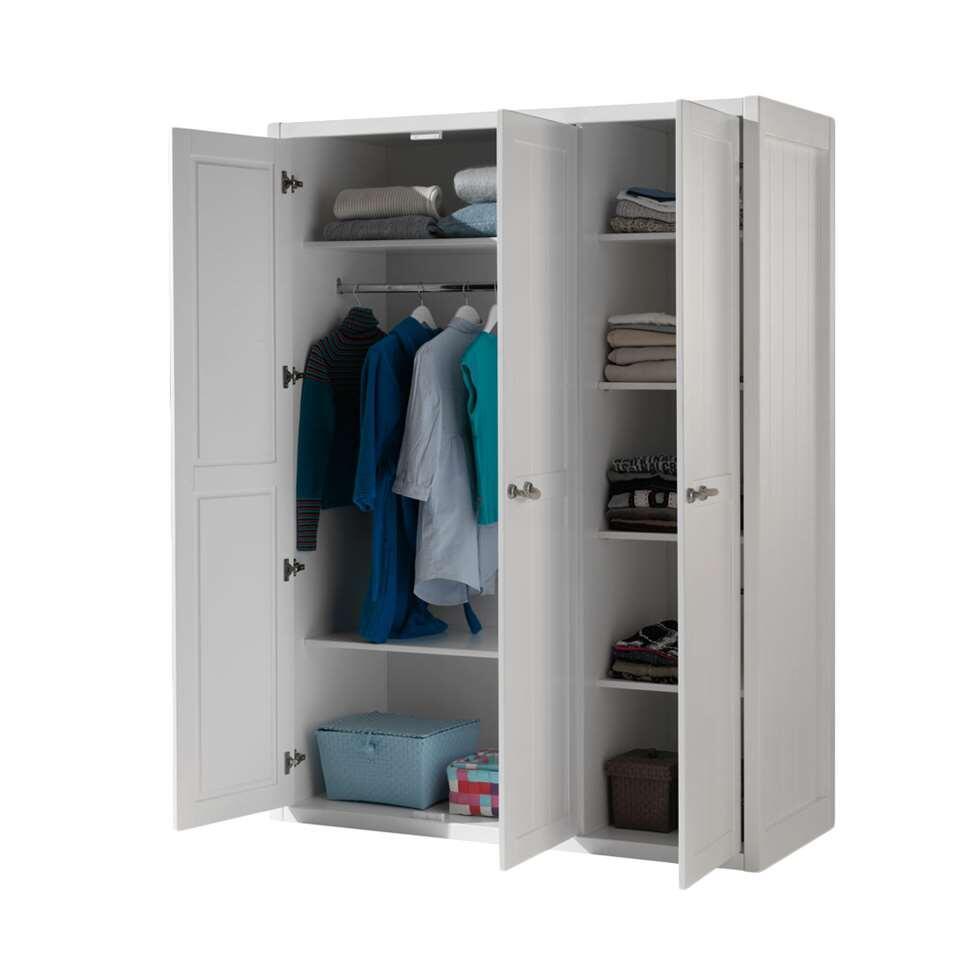 vipack armoire linge 3 portes lewis blanche. Black Bedroom Furniture Sets. Home Design Ideas