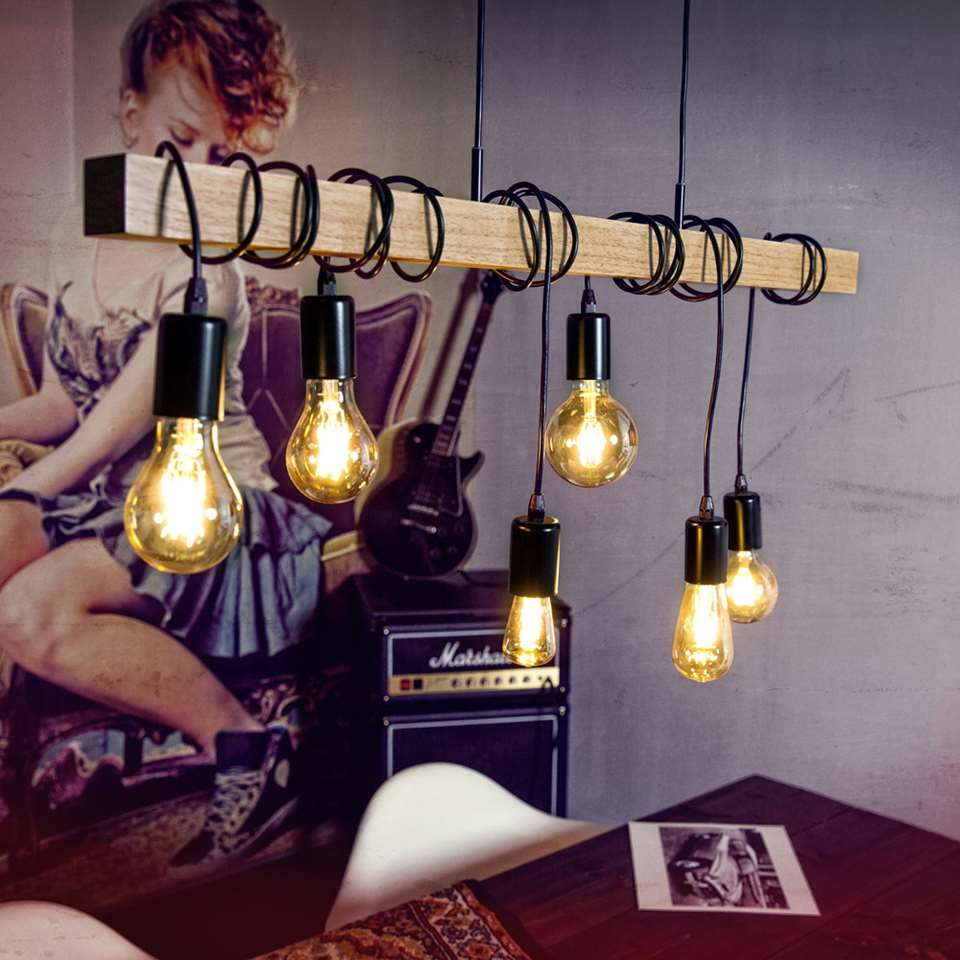 eglo hanglamp townshend zwarteikenkleur