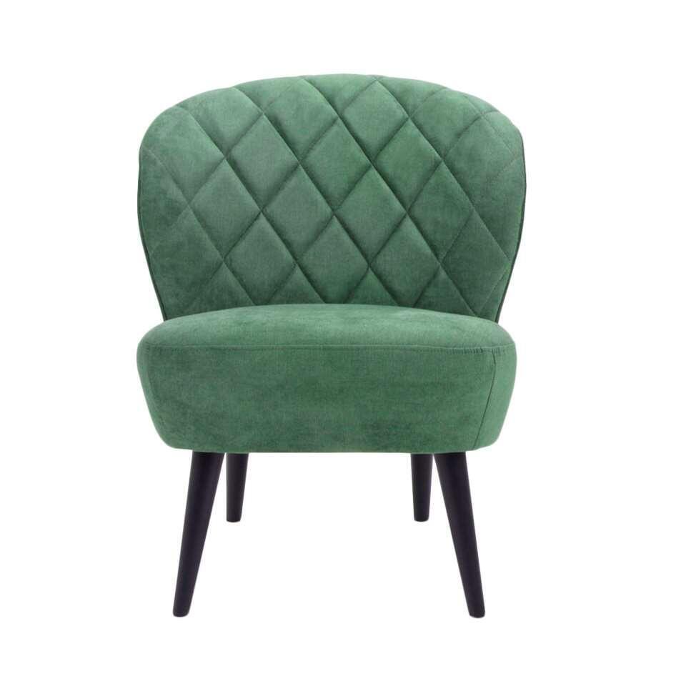 Fauteuil Vita in retrolook mag absoluut niet ontbreken in uw interieur! Deze mooie fauteuil is uitgevoerd in een fijne, donkergroene stof en heeft zwarte poten. De poten geven de fauteuil een hippe uitstraling.