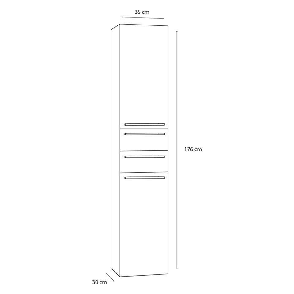 Differnz armoire de salle de bains Force - brillant blanc - en haut à droite - 35x30x176 cm
