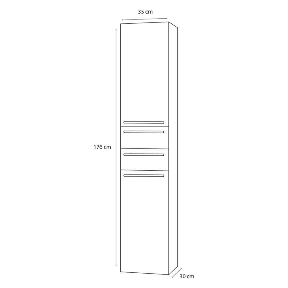 Differnz armoire de salle de bains Force - brillant blanc - en haut à gauche - 35x30x176 cm