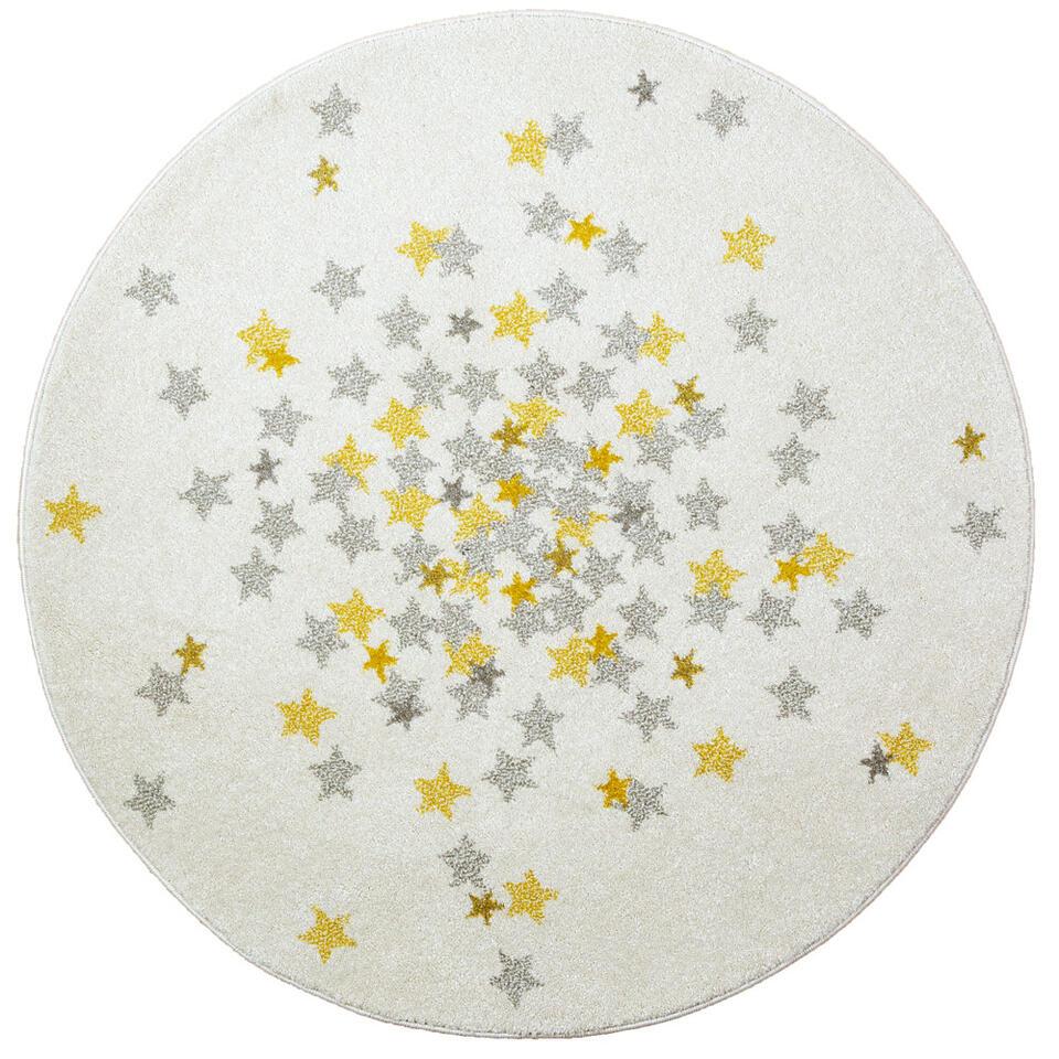 Dit rond karpet met gele en grijze sterren maakt de kamer van je kindje super vrolijk.