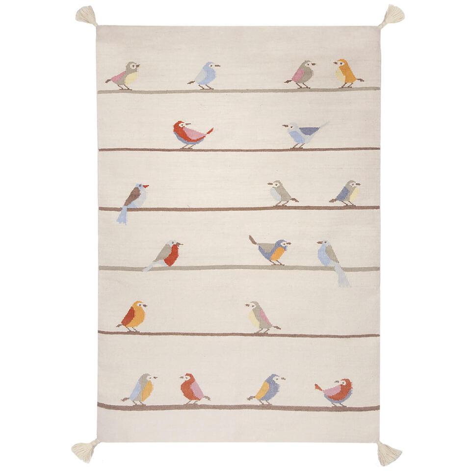 Een kleurrijk tapijt met achttien musjes die vrolijk fluitend op een draad zitten.