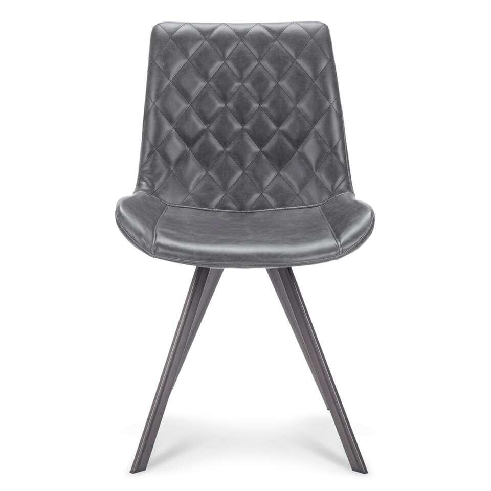 Chaise Soren - aspect cuir - noire (le lot de 2)