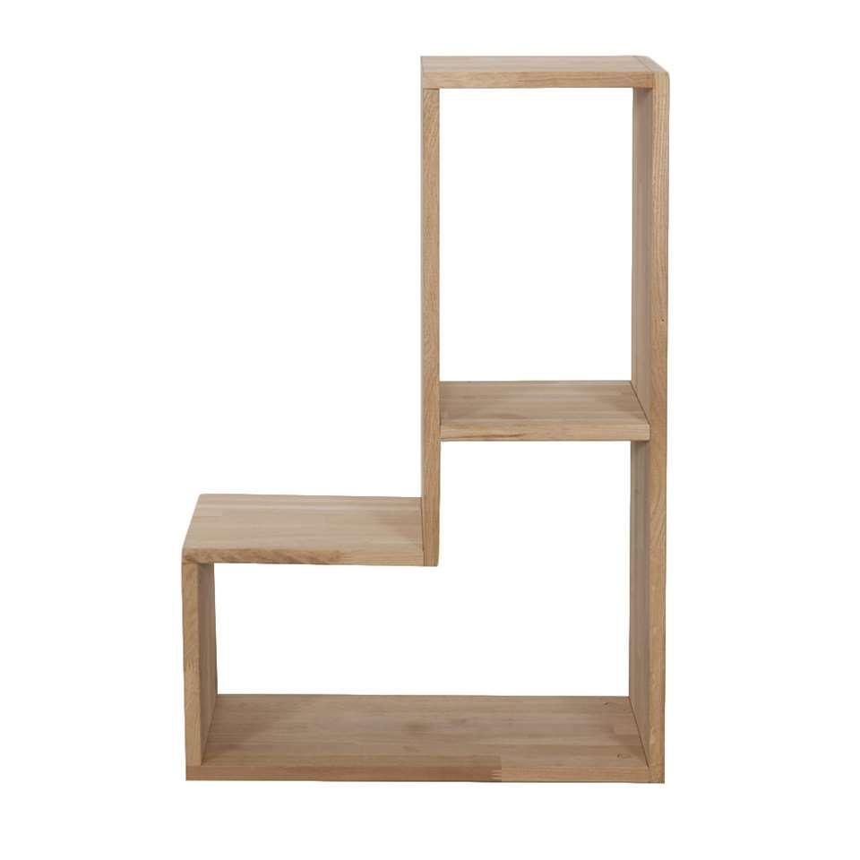 Woood boekenkast Tetris is een leuke kast met ontelbare opties. De kast is gemaakt van onbehandeld massief eikenhout met FSC® keurmerk. De kast heeft een afmeting (hxbxd) van 54x80x27 cm.