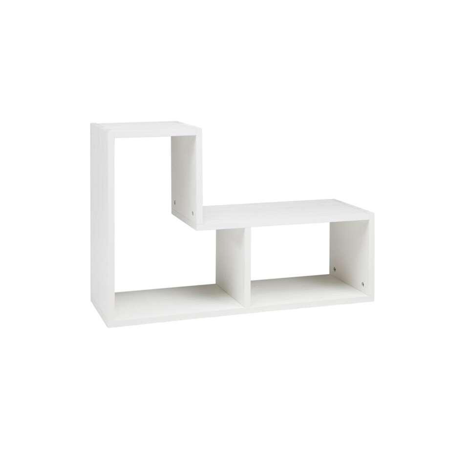 Woood boekenkast Tetris is een leuke kast met ontelbare opties. De kast is gemaakt van massief grenenhout met FSC® keurmerk. De kast heeft een afmeting (hxbxd) van 54x80x27 cm.