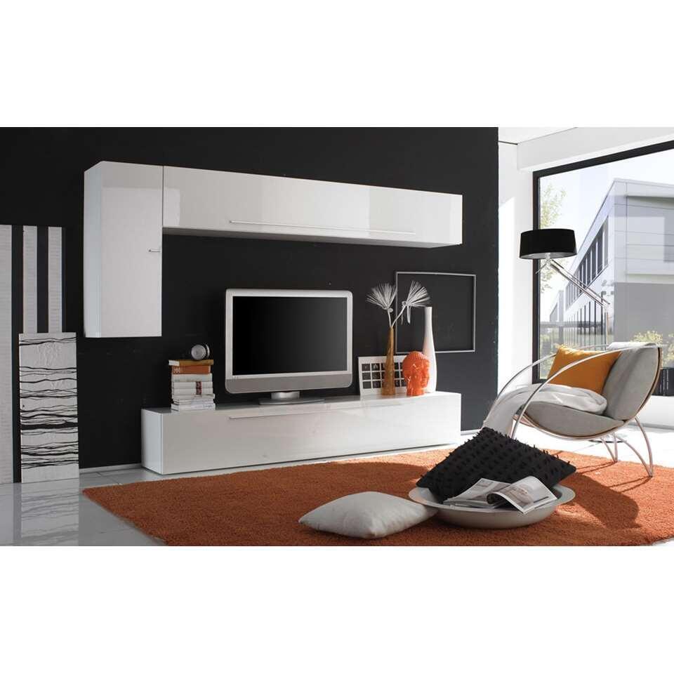 meuble tv combinaison mestre blanc brillant horizontal s 39 ouvre vers le bas. Black Bedroom Furniture Sets. Home Design Ideas