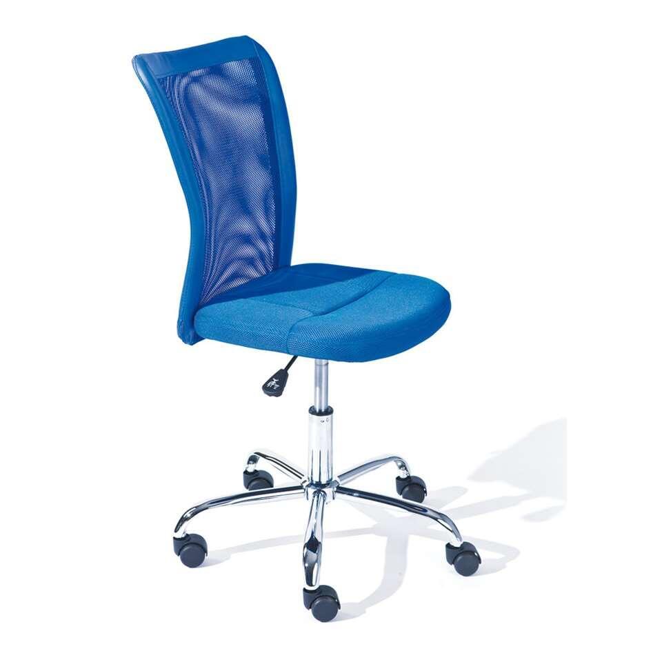 Kinderbureaustoel Bonnie heeft een prachtige diepblauwe kleur. De achterkant van deze bureaustoel is gemaakt van ventilerende mesh en bestaat uit 90% polyester en 10% polyurethaan.