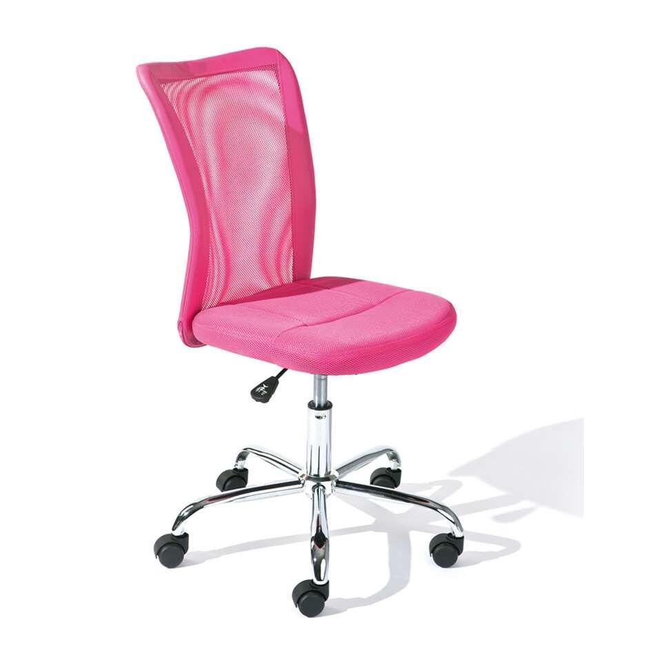 Kinderbureaustoel Bonnie is gemaakt in een levendige roze kleur. De achterkant is gemaakt van ventilerende mesh en bestaat uit 90% polyester en 10% polyurethaan.