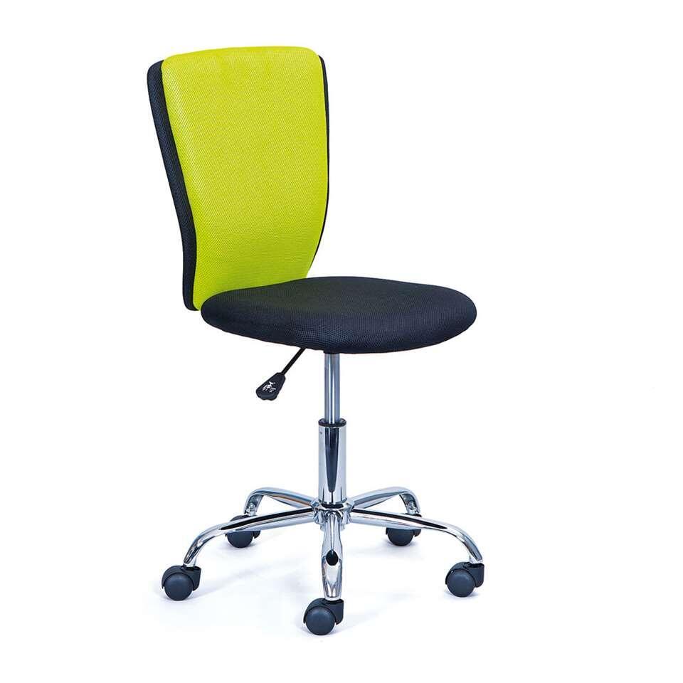 Kinderbureaustoel Tunja is een chique bureaustoel gekleurd in zwart/felgroen. De comfortabele en voorgevormde zitting is gemaakt van 100% polyester.