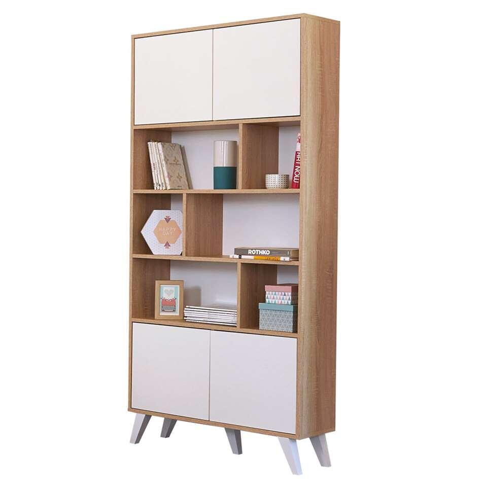 Symbiosis boekenkast Heidal - eikenkleur/wit - 186,5x89,5x28 cm