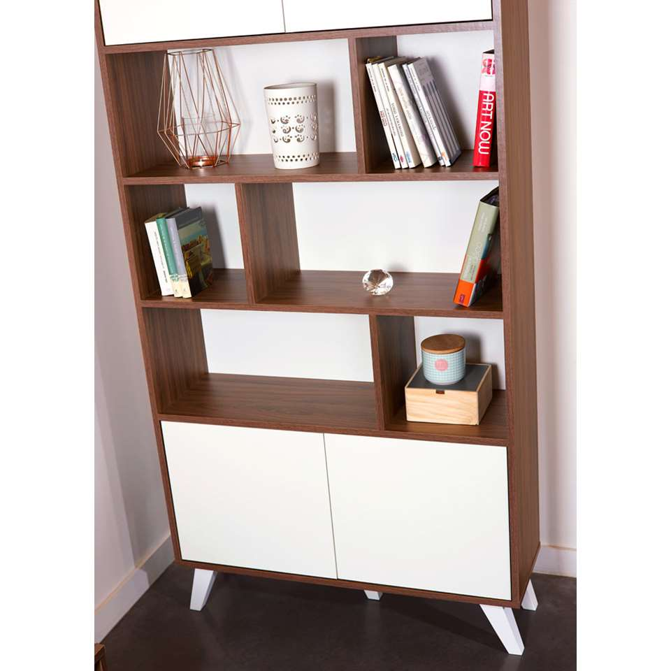 symbiosis biblioth que heidal couleur noyer blanche 186 5x89 5x28 cm. Black Bedroom Furniture Sets. Home Design Ideas