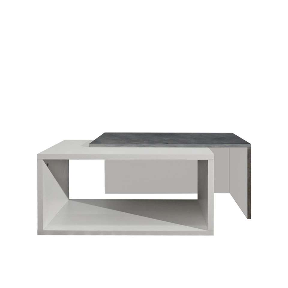 symbiosis table de salon rostoya blanche gris b ton 35x70x40 cm. Black Bedroom Furniture Sets. Home Design Ideas