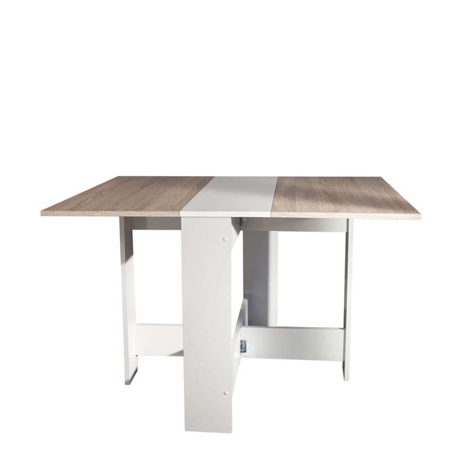 Symbiosis inklapbare tafel laugen wit eikenkleur 73 for Inklapbare tafel