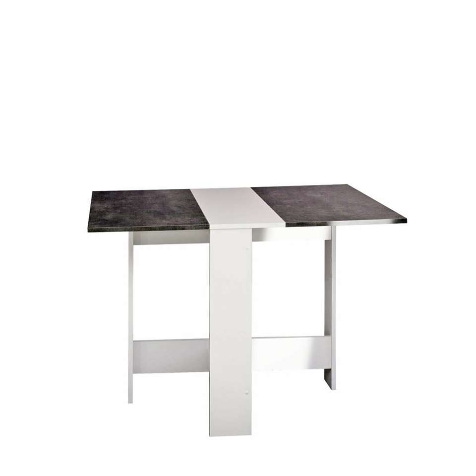 Symbiosis table escamotable Laugen - blanche/gris béton - 73,4x28x76 cm