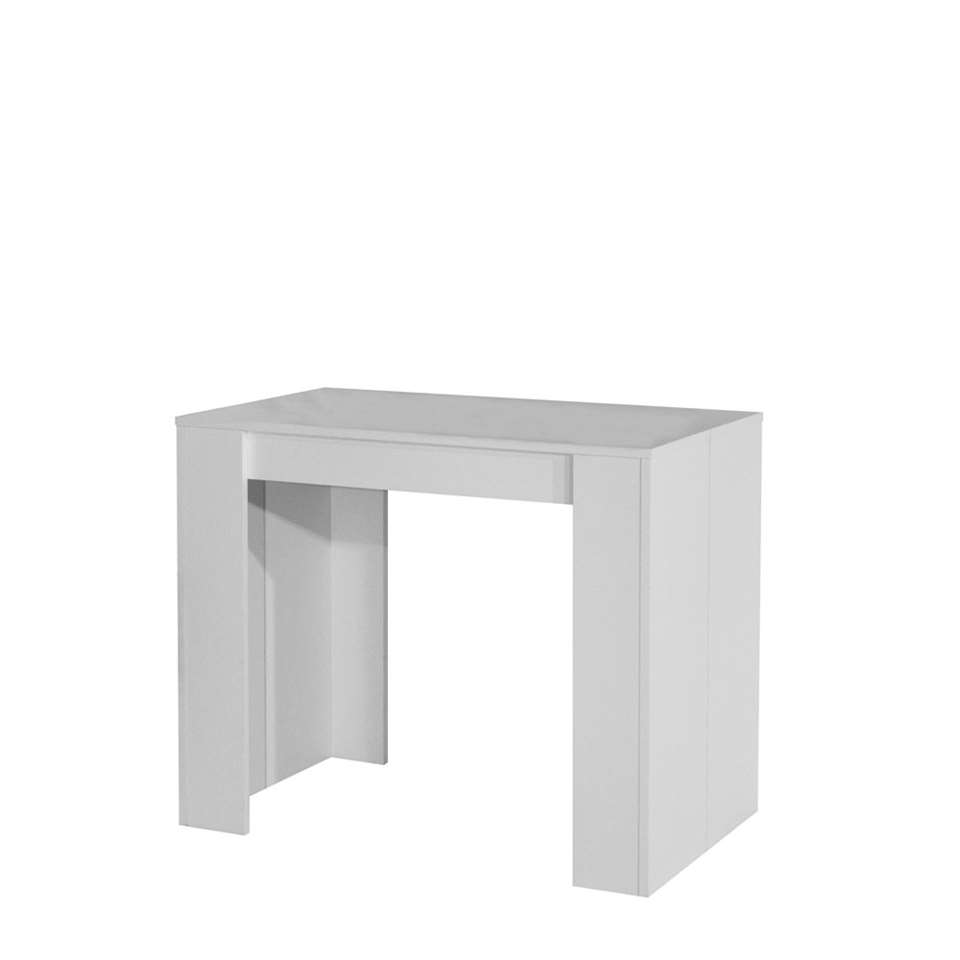 Symbiosis console table extensible ruste blanche 74x49x91 cm - Table console extensible blanche ...
