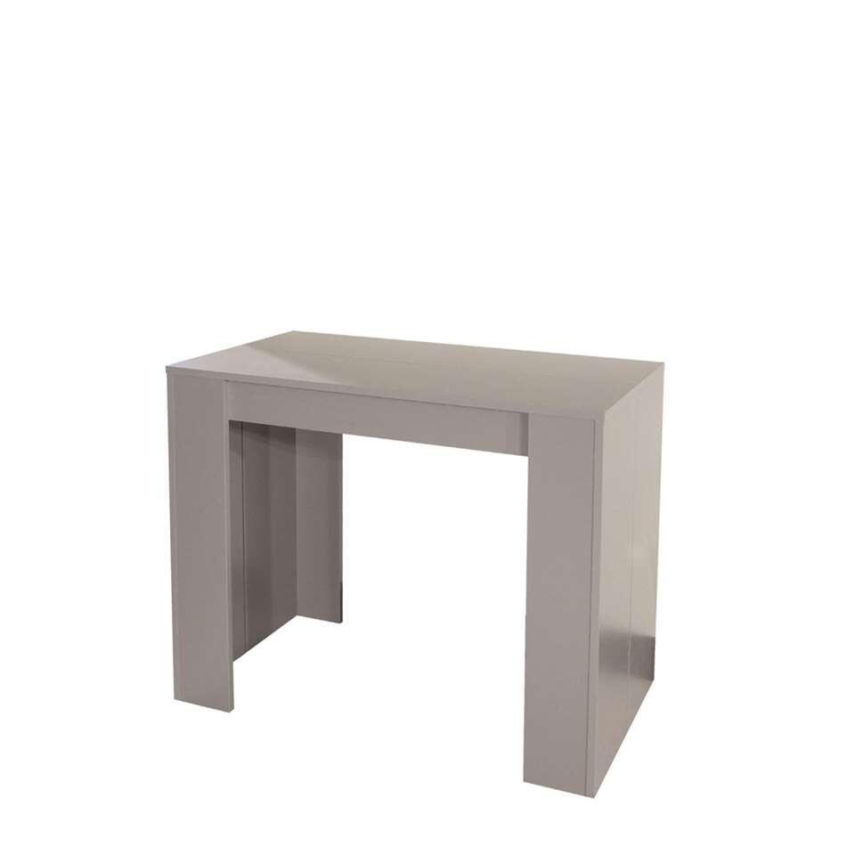 Wandtafel Ruste is gemakkelijk uit te breiden tot een eetkamertafel (van 49 cm naar 198 cm) dankzij drie afzonderlijke verlengbladen. Het meubel is gemaakt van spaanplaat in taupe.