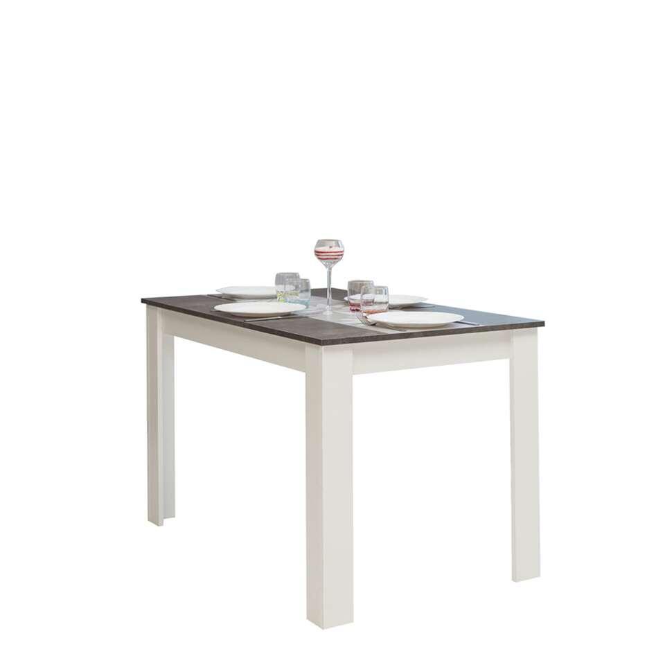 Symbiosis table de salle à manger Batsto - blanche/gris béton - 73 ...