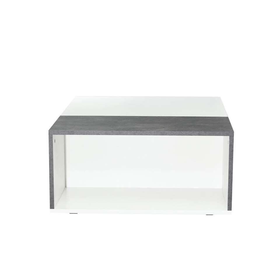 Symbiosis table de salon krossen blanche gris b ton 34x89x67 cm - Salon gris beton ...