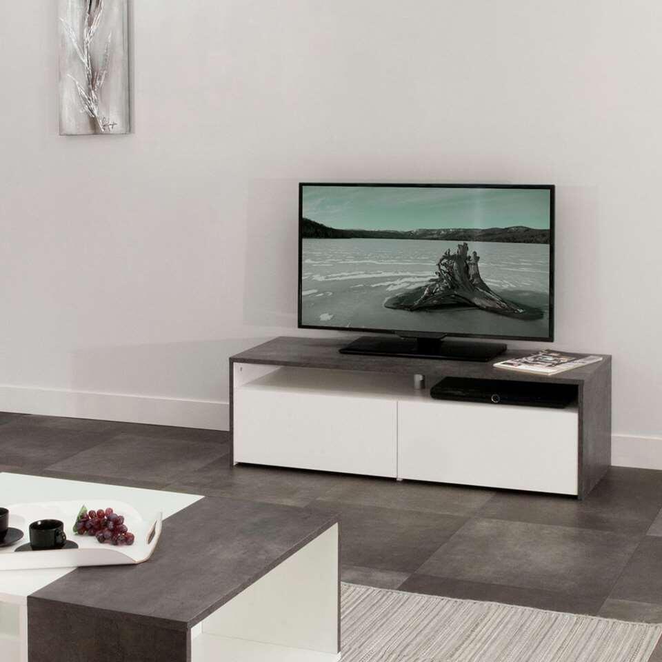 Symbiosis Meuble Tv Dalane Gris Beton Blanc 37x119 4x40 Cm